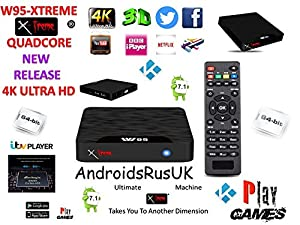 Android Tv Box Fully Xtreme 2018 Pro Plus Kodi tv boxes KODI 18 ultimate machine takes you to another dimension 4X CPU Marshmellow 7.1 AMLOGIC s905 cortex A53 64BIT 2Ghz Wifi 4K UHD H.265 Lan smart tv box quad core 8GB 2GB ULTRA HD Ethernet port, wifi play games movies without freezing and buffering high speed DONT JUST WATCH IT