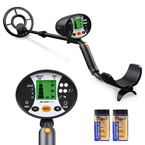 Meterk Detector de Metales subterráneos de Alta precisión, 2 Modo de búsqueda Pantalla LCD Bobina...