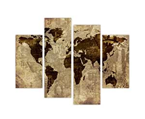 "CONTEMPORARY RETRO ART CANVAS WALL ART PRINTS BROWN ATLAS MAP EARTH PHOTO HOME DÉCOR PRINT ROOM DECORATION PICTURE 4 PIECE 35"" 90cm WIDE / 28"" 71CM TALL EXTRA LARGE MODERN ART"