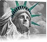 eindrucksvolle Freiheitsstatue schwarz/weiß Format: 120x80 auf Leinwand, XXL riesige Bilder fertig gerahmt mit Keilrahmen, Kunstdruck auf Wandbild mit Rahmen, günstiger als Gemälde oder Ölbild, kein Poster oder Plakat