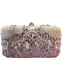 1stAmerican Pochette donna elegante con strass e perle in rilievo borsa a mano con chiusura brillanti