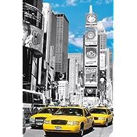 Enorme laminada/encapsulado ciudad de Nueva York Times Square amarillo Taxis Póster Medidas 36x 24pulgadas (91.5x 61cm)