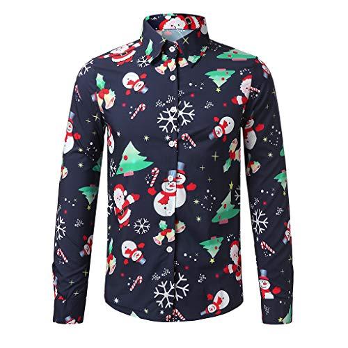 KPILP Herren Bluse Hemd für Weihnachten Langarm Button-Down Männer Christmas Shirt Weihnachtshemd 3D Digitaldruck Schneeflocken T-Shirt Hawaiihemd mit Stehkragen