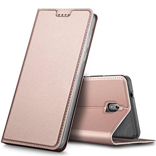 GeeMai Nokia 2.1 Hülle, Premium Leder Hülle Flip Case Tasche Cover Hüllen mit Magnetverschluss [Standfunktion] Schutzhülle handyhüllen Nokia 2.1 (2018) Smartphone Rosegold