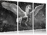 Weißer Pegasus mit Engelsflügel Kunst Kohle Effekt 3-Teiler Leinwandbild 120x80 Bild auf Leinwand, XXL riesige Bilder fertig gerahmt mit Keilrahmen, Kunstdruck auf Wandbild mit Rahmen, gänstiger als Gemälde oder Ölbild, kein Poster oder Plakat