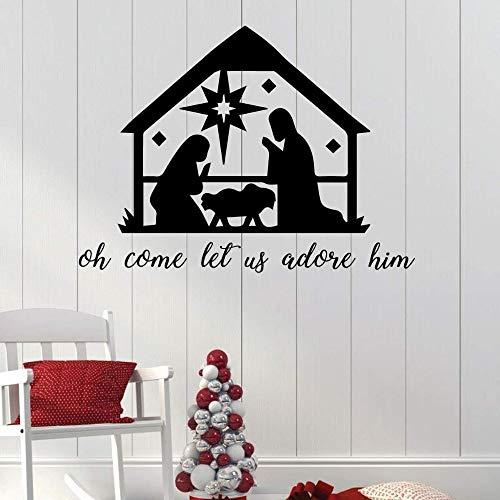 yiyiyaya Stickers muraux de Noël de la Nativité Oh Laissez-Nous l'adorer Vacances Vinyle Autocollant Mural pour Le Salon Home Decor Autres Couleurs 108x80 cm