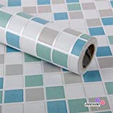 dooxoo 44x 200cm Küche PVC Aluminium Folie self-adhensive Mosaik Aufkleber Öl Tapete Wand Aufkleber Badezimmer Spiegel Wasserdicht Wandtattoo (blau)