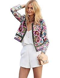 RETUROM nuevo estilo de la moda de las mujeres impresas florales chaqueta corta de manga larga de abrigo