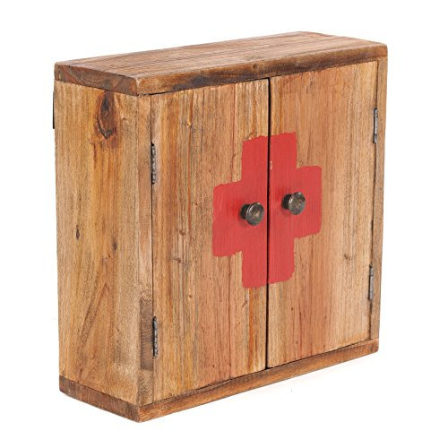 DESIGN DELIGHTS Vintage MEDIZINSCHRANK | 35x35x13cm (HxBxT), Recycling Holz | Wandschrank, Wandregal, Medkamentenschrank, Badschrank aus Massivholz, Vintage braun