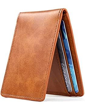 Ultra Slim Mini Bifold Cartera ID Card Case con ventana bloqueo RFID