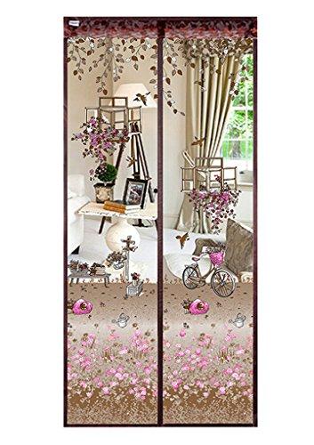 Cortina mosquitera magnética para puerta, de alta densidad, con diseño floral y parte superior que permite que entre el aire fresco, 90 x 210 cm/100 x 210 cm, 90x210 cm