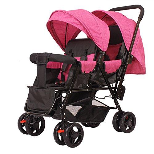 LZTET Doppel Buggy Twin Tandem Kinderwagen Kinderwagen 2 Sitzeinheiten Baby Travel Universal,H