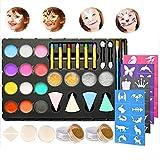 Faburo Kinderschminken Set 14 Schminkfarben Gesichtsfarbe Wasserlöslich Face Paint mit Glitzer Gesichtsstifte Pinsel Lidschattenstab Schwämme Papierschablone für Weihnachten Karneval