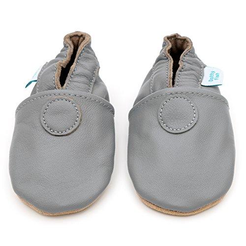 Dotty Fish weiche Lederschuhe für Babys und Kleinkinder - Erste Laufschuhe und Krabbelschuhe für Jungen und Mädchen - Größen 16 - 28 (Neugeborene - 4-5 Jahre) (2-3 Jahre, Spotty Dotty Weiß) Einfach nur grau