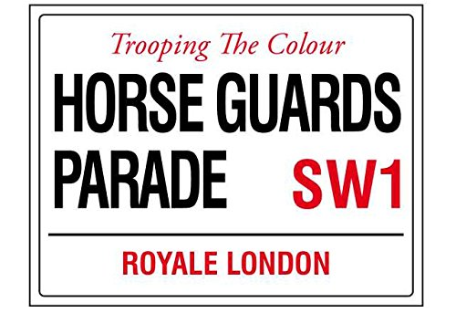 Trooping The Colour Horse Guards Parade Londres Angleterre Street Road Sign Retro Style Shabby Chic Style Vintage encadrée Style Vintage Photo Plaque Murale (A5)