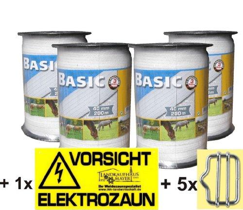 4x Weidezaunband Weiß 40mm Rolle 200m 8x0,16 Niroleiter + 5 Bandverbinder + Warnschild