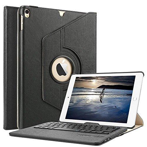 Tastatur Hülle, Boriyuan abnehmbare Wireless Bluetooth Tastatur PU Hülle mit 360 Grad drehbarer Ständer für Apple iPad 9,7 Zoll (Schwarz) (Apple Keyboard Case Ipad 6)