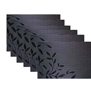 kamierfa 6 stk edel euro stil blaetter abwaschbar kunststoff platzmatten tischsets schwarz. Black Bedroom Furniture Sets. Home Design Ideas