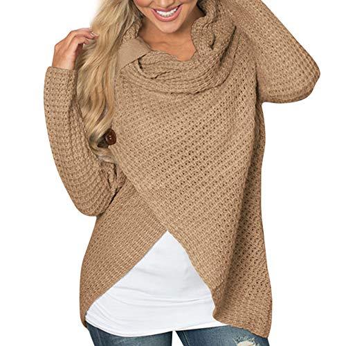 (Übergröße Pullover Damen Frauen Mode Elegante Irregulär Oberteile Bluse DOLDOA)