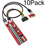 AresKo PCI Riser PCI-E Scheda Adattatore Riser Alimentato 1xx16x con cavo di prolunga USB 3.0 da 60 cm e cavo di alimentazione SATA da 6 pin PCI-E a 15 pin - Adattatore GPU Riser - Ethereum Mining ETH