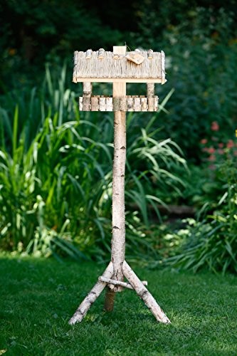 Vogelhaus und Futtersilo und Standfuß aus Birke mit Strohdach quadratisch - 4