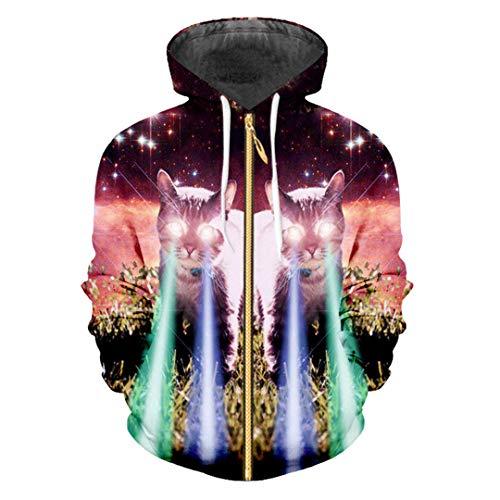 Mens Zip Hoodies Lustige Print Galaxy Space 3D Sweatshirts Katze Flash Light Hoodie Galaxy Space Cat (Katze Im Flash Kostüm)