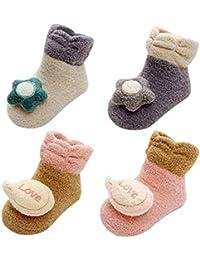 45a998b4fb3ad LIUCHENGHANG - Pack de 4 Pares Zapatillas Antideslizantes de Invierno para  Bebé Niños Niñas Zapatos de