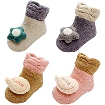 LIUCHENGHANG - Pack de 4 Pares Zapatillas Antideslizantes de Invierno para Bebé Niños Niñas Zapatos de