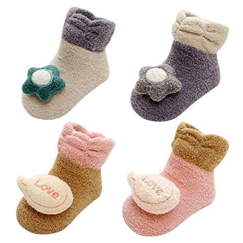 8611a03c2 LIUCHENGHANG - 4 Pares de Calcetines Antideslizantes Baby Socks Anti-slip  Zapatos Zapatillas de Casa