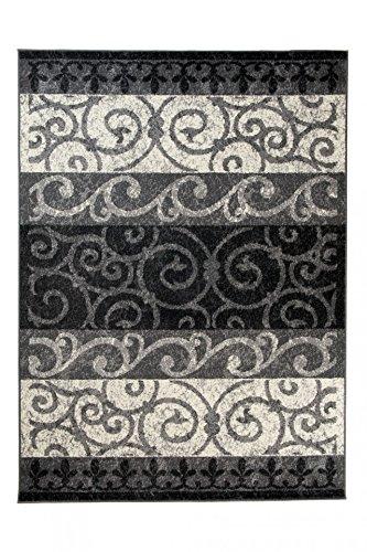 Tapiso qmega tappeto salotto soggiorno moderno stanza da letto grigio scuro crema fiori orientale classico a pelo corto 160 x 220 cm