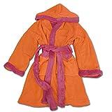 Kinder Bademantel Microfaser 2-Farbig von JEMIDI 110-152 Kapuze Gürtel Morgenmantel Jungen Mädchen – Tolle Qualität und wunderbar weich! (122/128, Orange)