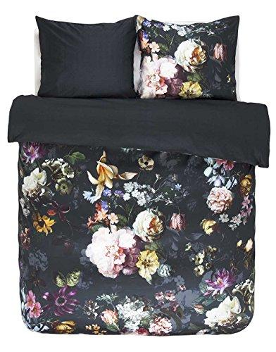 Essenza Trend Heritage Fleur Nightblue Housse de Couette 100% Satin de Coton, 260x240