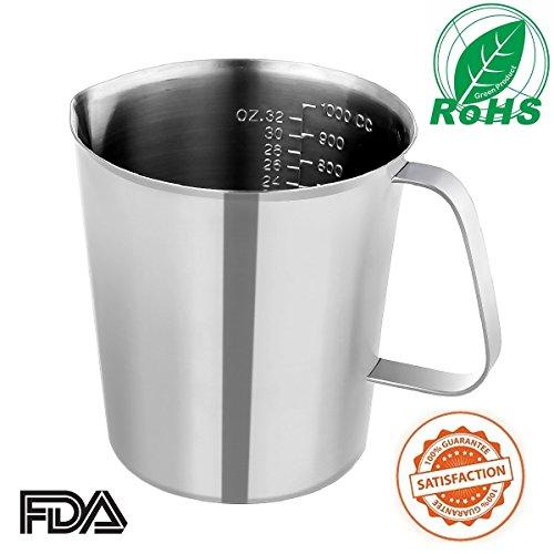 Messbecher aus Edelstahl Messglas aus Edelstahl - KitchCater - 1000 ML 32 OZ für Messen Messbecher für Küche Milchkännchen Milchaufschäumer