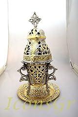 Idea Regalo - Lumino di vigilanza da tavolo ad olio votivo greco in bronzo religioso cristiano ortodosso con vetro rosso 7110gn