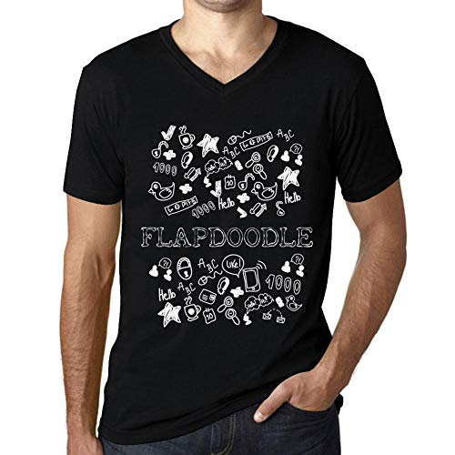 Flapdoodles Rock (Herren Tee Männer Vintage V-Ausschnitt T shirt Doodle Art FLAPDOODLE Noir Schwarz Text Weiß)