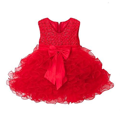 Mbby Vestiti Battesimo Neonati,6-24 Mesi Abito da Carnevale per Bambina Vestito Cerimonia Principessa con Arco Senza Manica Diamante Tulle Abiti Tutu per Ragazza