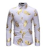 FRAUIT Herren Langarm Hemd Edles Spitzenmuster Herbst Winter Männer Malerei Große Größe Hemden Lässige Top Bluse Shirts Modern Modell Oxford Slim Fit Bügelleicht Stretch Atmungsaktiv Schön