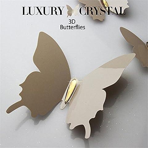 "Yanqiao 3D Schmetterlings-Wand-Abziehbild-Aufkleber-entfernbare Kunst-Ausgangsdekorationen DIY Tapete einfach, 6 * (11 * 12CM) + 6 * (6 * 7.5CM) 6 * (4.3 * 4.7 "") + 6 * (2.4 * 3"") 12Pcs / Set (6 + 6), braun"