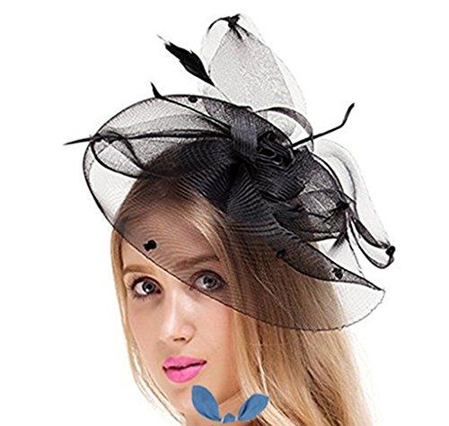 (HETAO Mädchen Kopfschmuck, Frauen Fascinator Hut Blume Mesh Ribbons Stirnband Forked Clip Hochzeit Headwear Haarspange Hochzeit Stirnband)