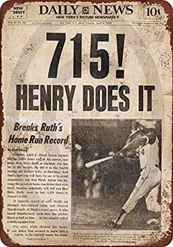 Harvesthouse 1974 Hank Aaron Breaks Babe Ruth's Record Reproduction Metal Sign 8 x 12 by - Aaron Wall Design