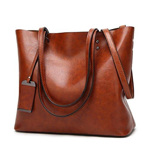 EssVita Fashion Damen Beuteltote Handtaschen Große Pu-leder Top Griff Handtasche Schultertaschen Braun (Leder Damen Belüftet)