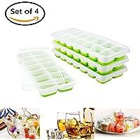 4 Bandejas Hielo Grande con Tapa -cubo para hielo,bandeja para hielo, Silicona Alimentaria Flexible/Cubo Enorme 4*3cm - 56 Huecos Color Verde,para familia, homemade.