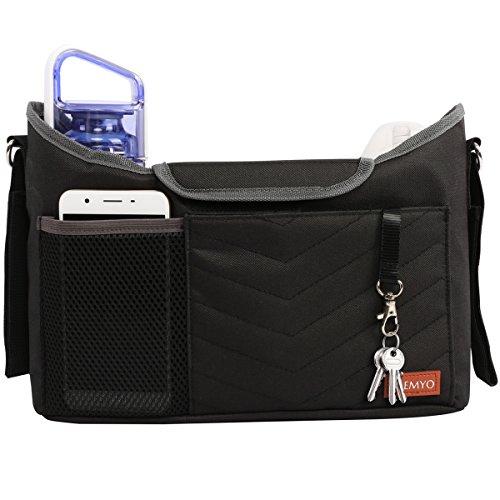 PREMYO Kinderwagen Organizer mit Getränkehalter - Universal Kinderwagentasche mit Wickelunterlage Schultergurt Schwarz