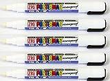 Zig Kuretake Posterman Blanc Large (6MM) Pointe marqueurs à craie liquide pointe étanche Tableau noir Tableau blanc en verre extérieur en métal Plastique papier de bois (lot de 5)
