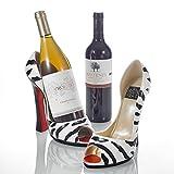 Pure.Lifestyle Soporte de Botella en Forma de Vino de Tacones Altos de Porcelana Estante de Exhibición de Botella de Cerámica, Decoración Cerámica Artesana Creativo, Regalo Ideal - Textura de Cebra