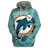 CZ-SQG Männer 3D Hoodie Miami Dolphins Fußball-Uniform-Muster Digital-DruckHoodie Lovers Hoodie,