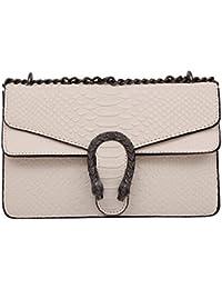 Windwelle Damen PU Leder Quadratische Kette Handtasche Schultertasche Messenger Bag Umhängetasche