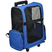 [pro.tec] Mochila / carrito para perros 2 en 1 - transportín para perros y gatos (azul) - con 4 ruedas