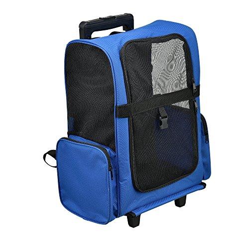 [pro.tec] 2 in 1 zaino per cani / trolley cani - trasportino borsa per cane/gatti (blu) con 4 ruote