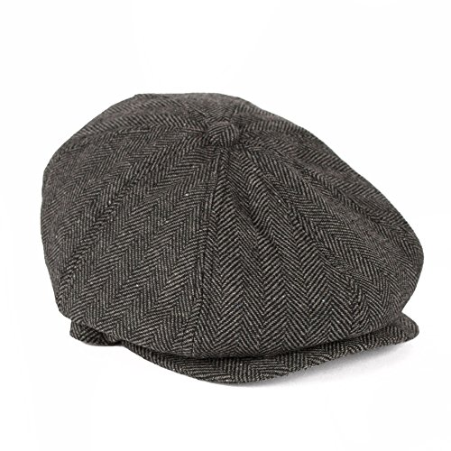 Men's Ladies Flat Cap Herringbone Tweed With 8 Panels - Grey (58/L) Herringbone Tweed Cap